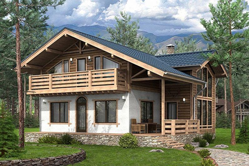 Conceptions de maisons modernes de style chalet - Maison de plain-pied avec grenier et sous-sol