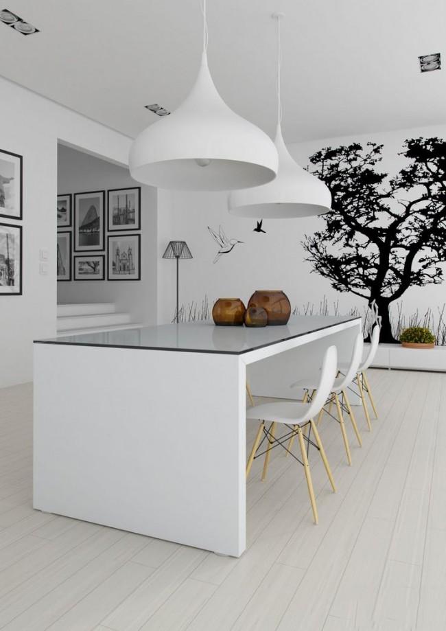 Dessin graphique sur papier peint photo dans une cuisine blanche