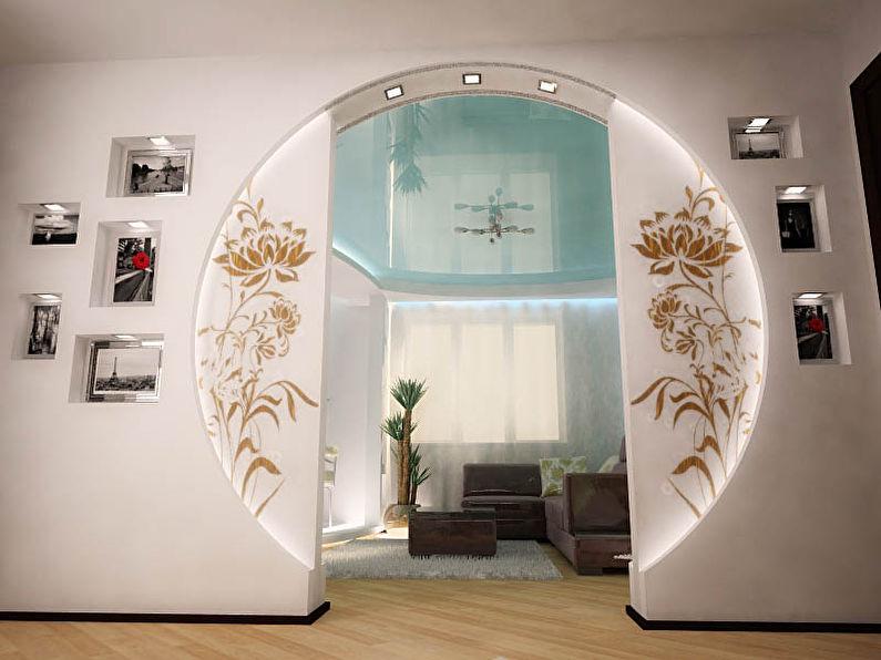 Arches rondes en plaques de plâtre - design, photo à l'intérieur