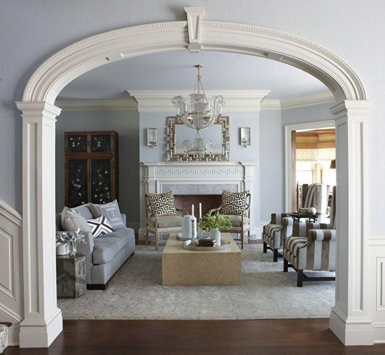 Arches elliptiques en plaques de plâtre - design, photo à l'intérieur