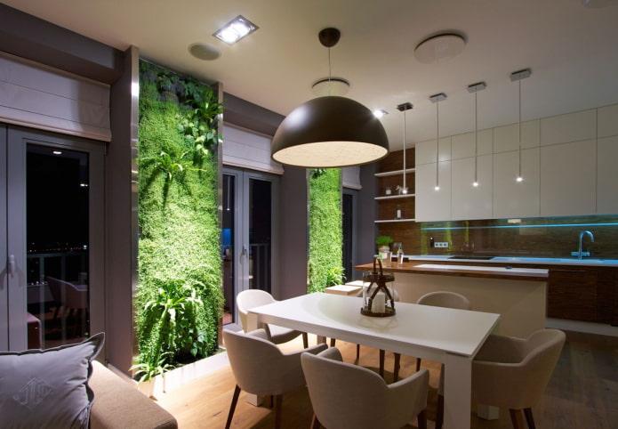 mur vivant à l'intérieur de la cuisine