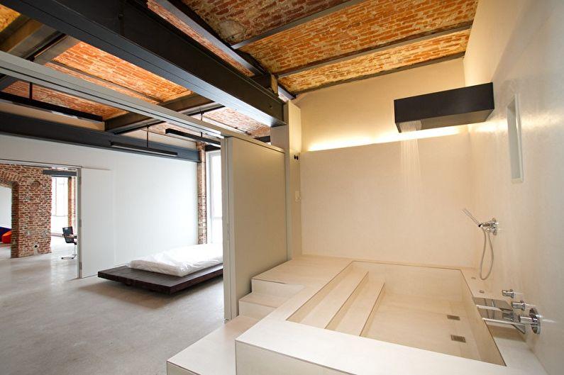 Salle de bain loft beige - Design d'intérieur
