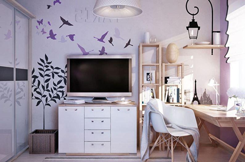 Salon de style scandinave lilas - Design d'intérieur