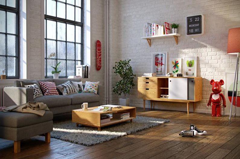 Salon de style scandinave beige - Design d'intérieur