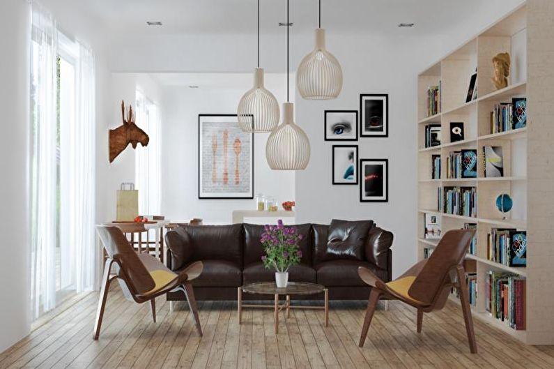 Salon Scandinave Marron - Design d'Intérieur