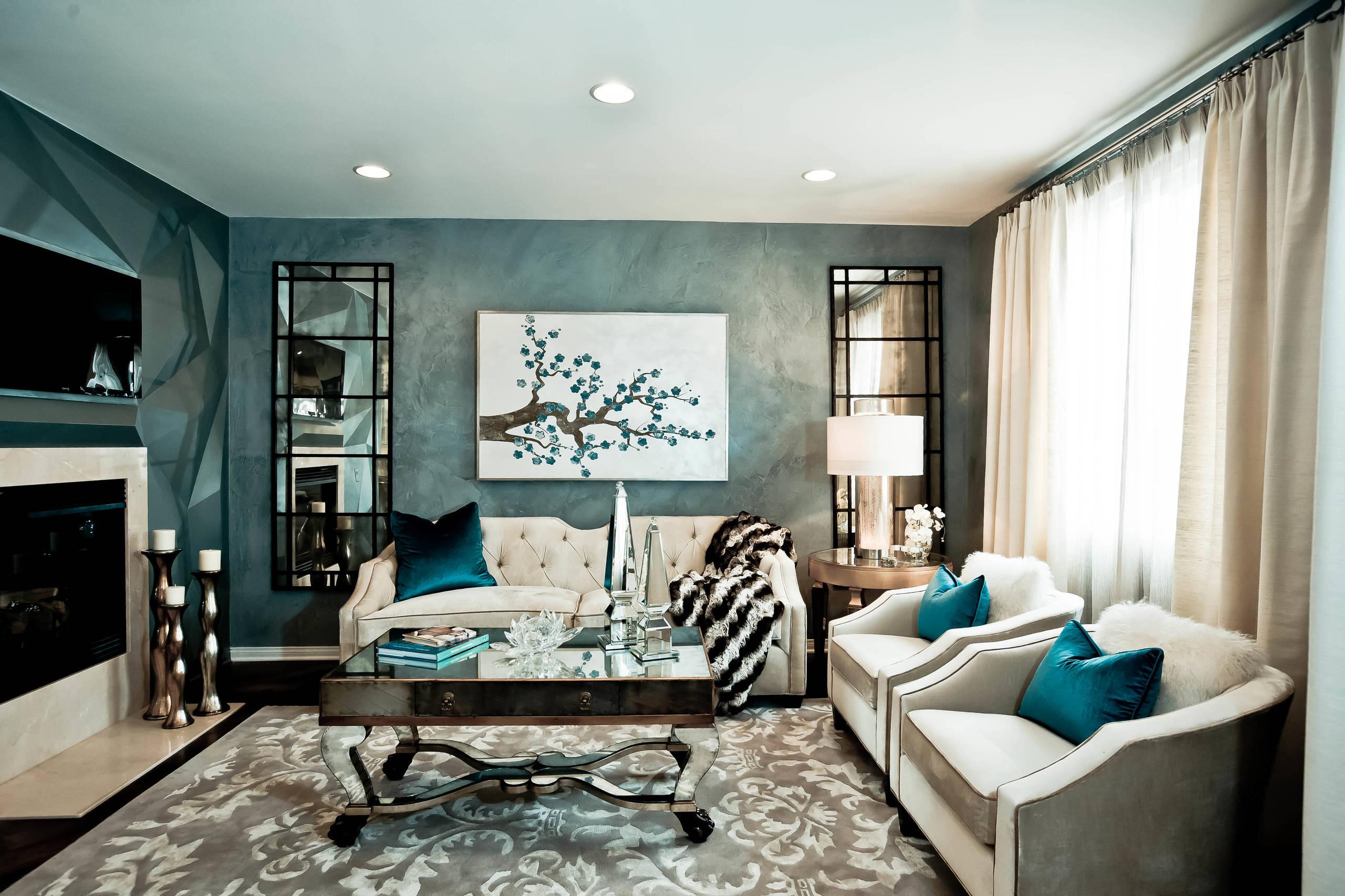 Décoration murale luxueuse dans un salon moderne