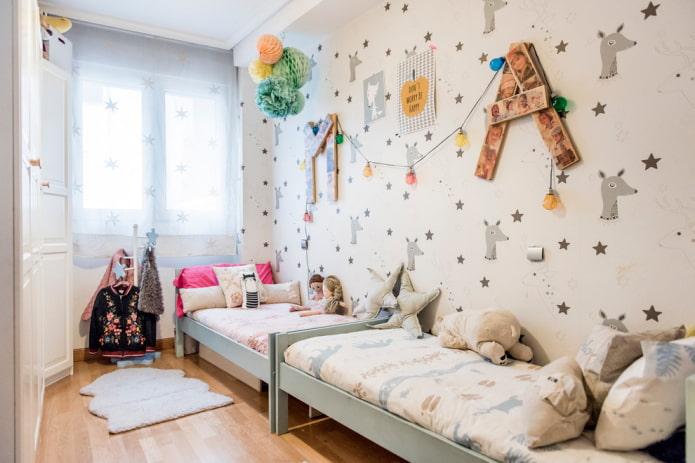 aménagement d'une chambre étroite pour deux filles
