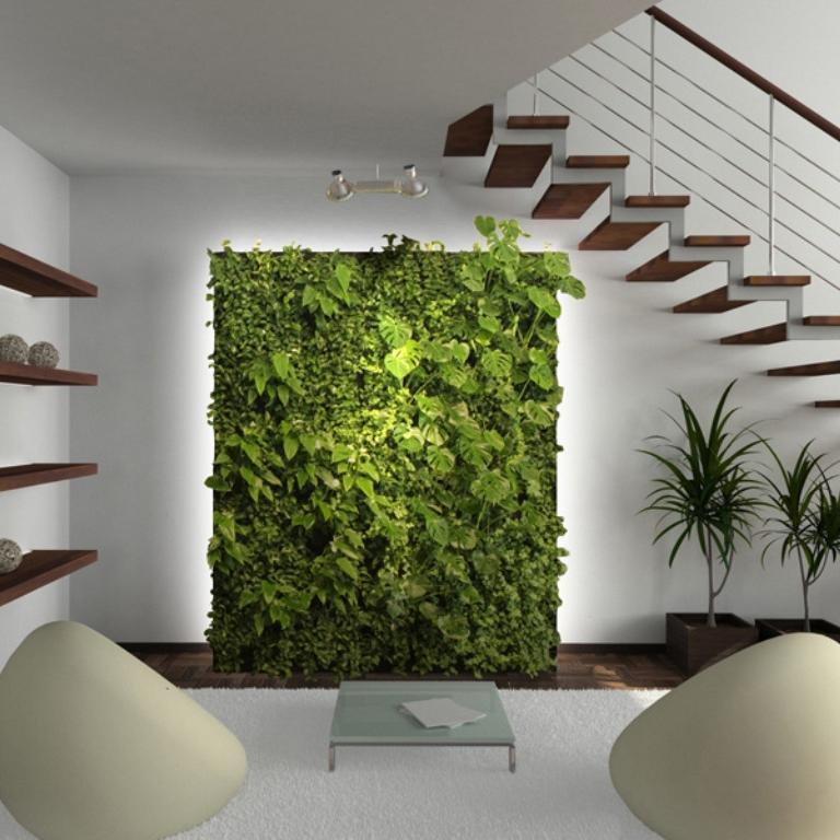 Jardin vertical avec éclairage spécial