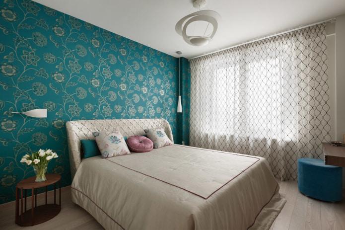 papier peint turquoise dans la chambre