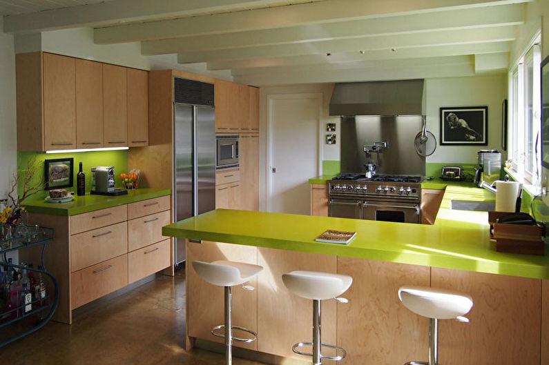 Cuisine verte dans un style moderne - Design d'intérieur