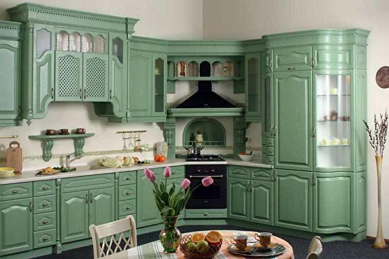 Cuisine verte classique - Design d'intérieur