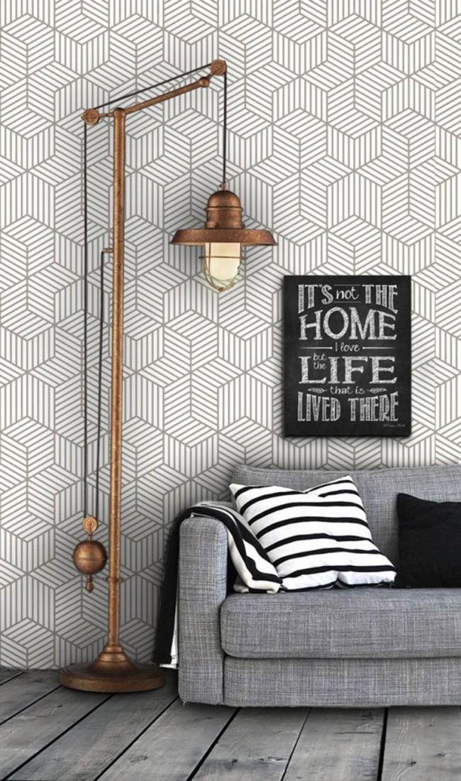 A première vue, papier peint très simple, mais en même temps très original avec un motif géométrique