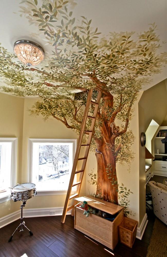 Vous pouvez également montrer toute votre créativité et faire un énorme dessin unique sur tout le mur selon votre propre croquis.