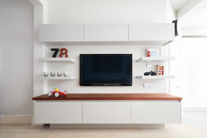 TV sur le mur à l'intérieur