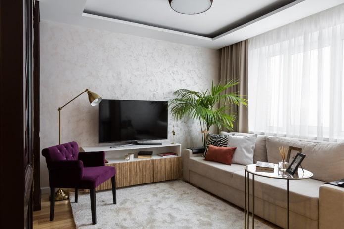 salon intérieur dans un appartement de 36 carrés