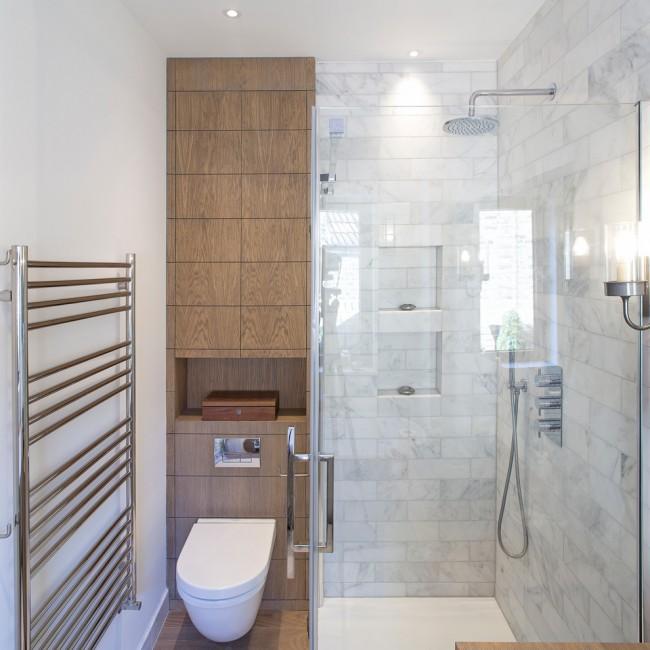 Une cabine de douche permettra d'économiser de l'espace, par exemple, pour une machine à laver