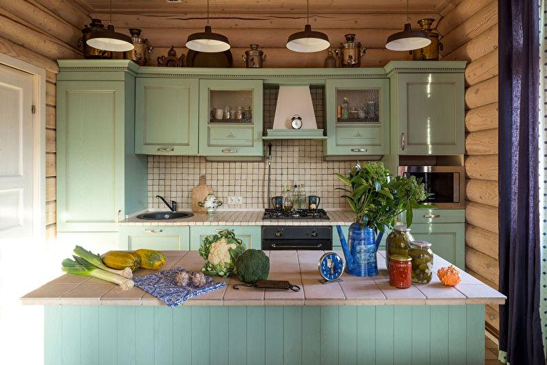 Cuisine de campagne verte - design d'intérieur