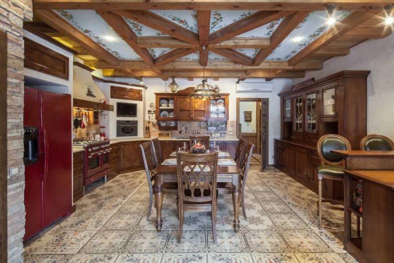 Cuisine marron de style campagnard - design d'intérieur