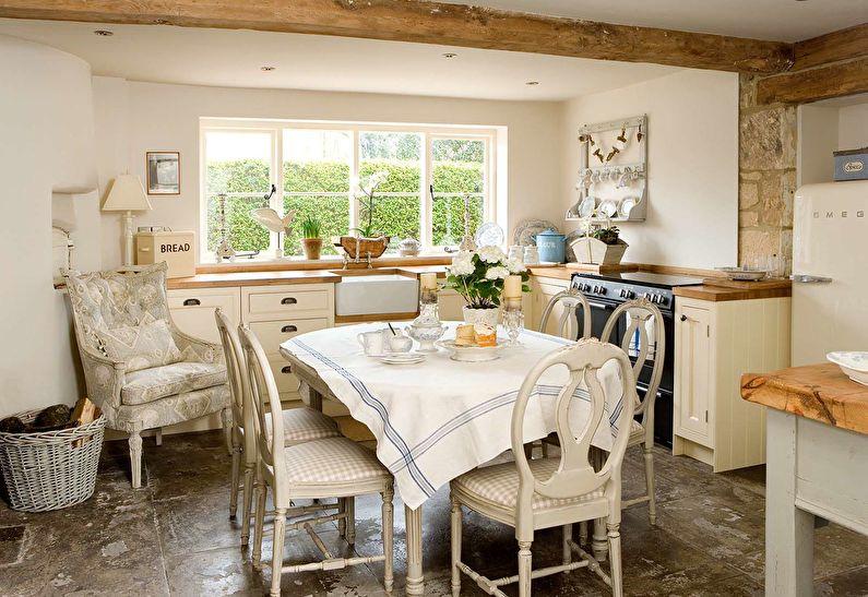 Cuisine de campagne blanche - design d'intérieur