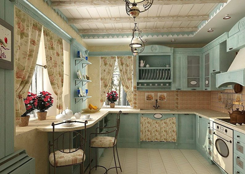 Cuisine de style campagnard - conception et décoration du plafond