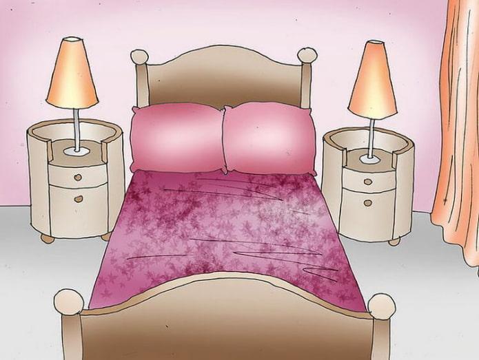 tables de chevet des deux côtés du lit
