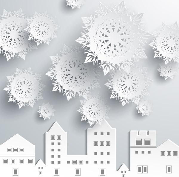Magnifique paysage d'hiver en papier pour la décoration de fenêtre