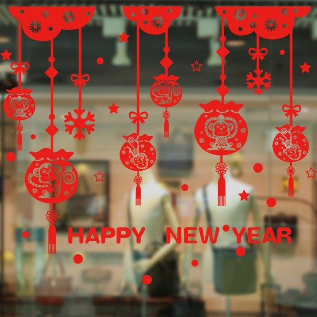 Autocollant de Noël rouge pour la décoration de vitrine