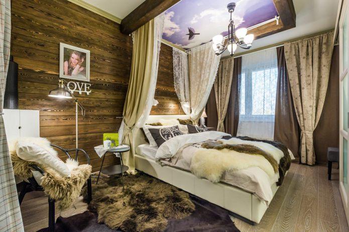 chambre aux murs en bois