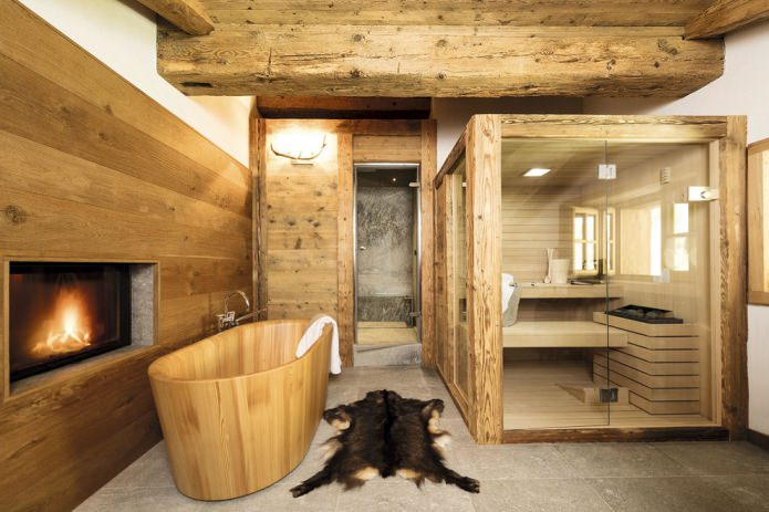 salle de bain style chalet
