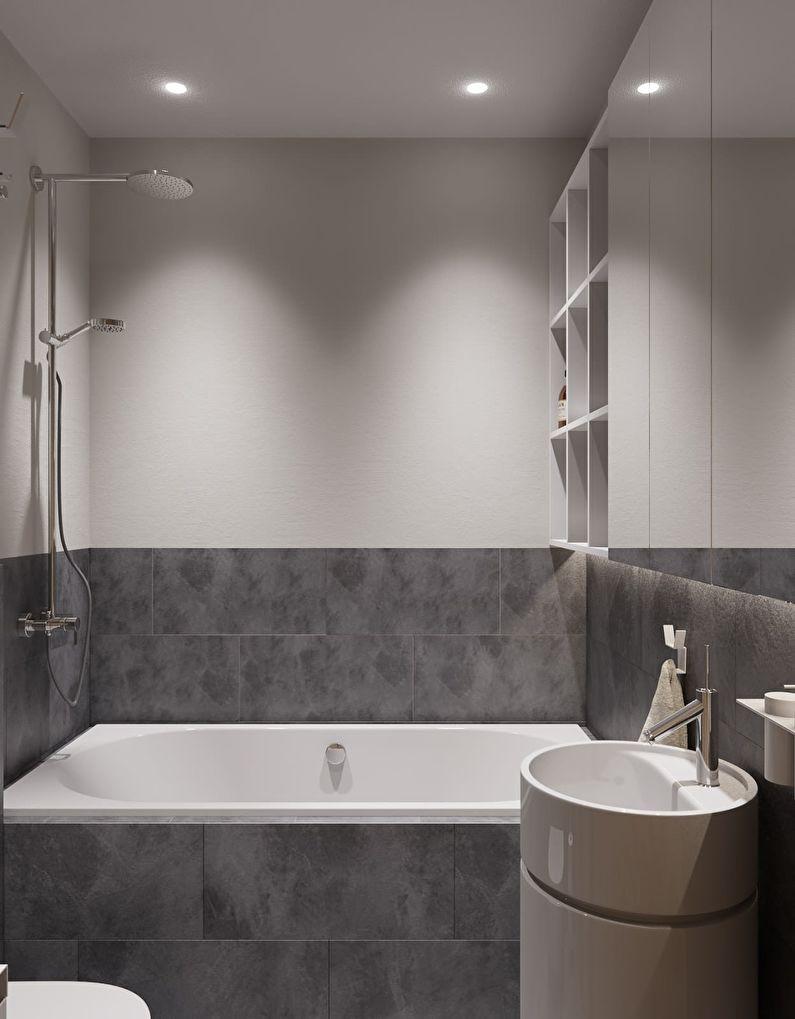 Conception de salle de bain à Khrouchtchev - style minimalisme