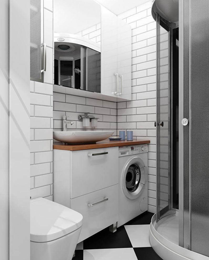 Conception de salle de bain à Khrouchtchev - Style d'intérieur scandinave