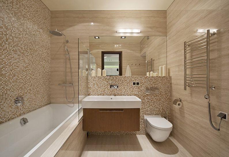Conception de salle de bain beige à Khrouchtchev