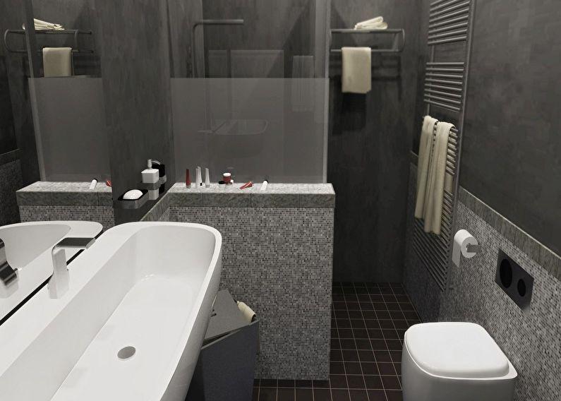 Conception d'une salle de bain grise à Khrouchtchev