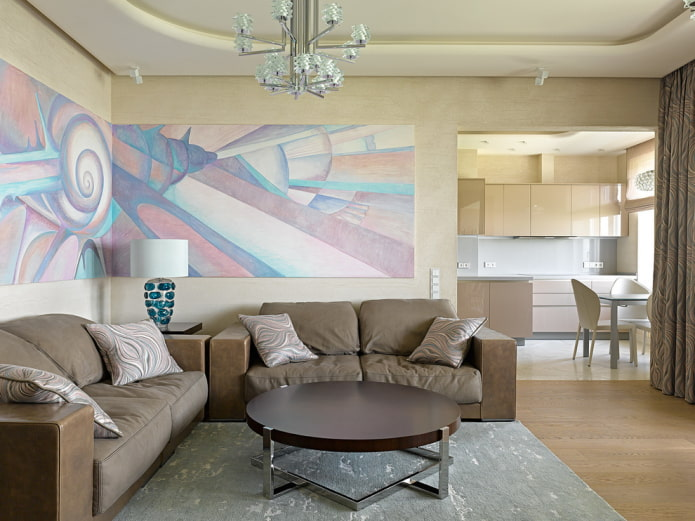 arc à l'intérieur du salon dans un style moderne