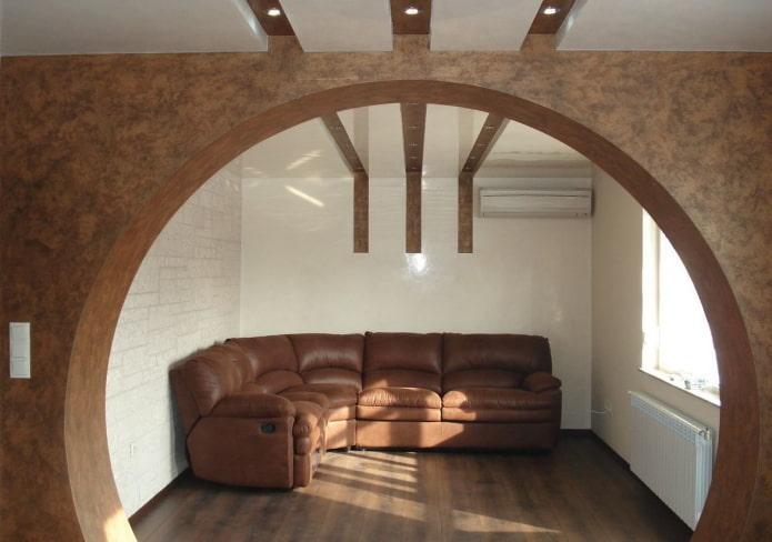 arche ronde en placoplâtre à l'intérieur