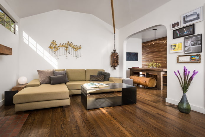 arche de placoplâtre à l'intérieur du salon
