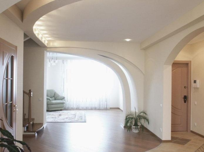 arche oblique en plaques de plâtre à l'intérieur