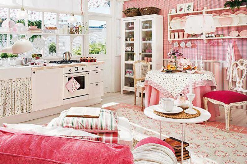 Cuisine rose de style provençal - Décoration d'intérieur