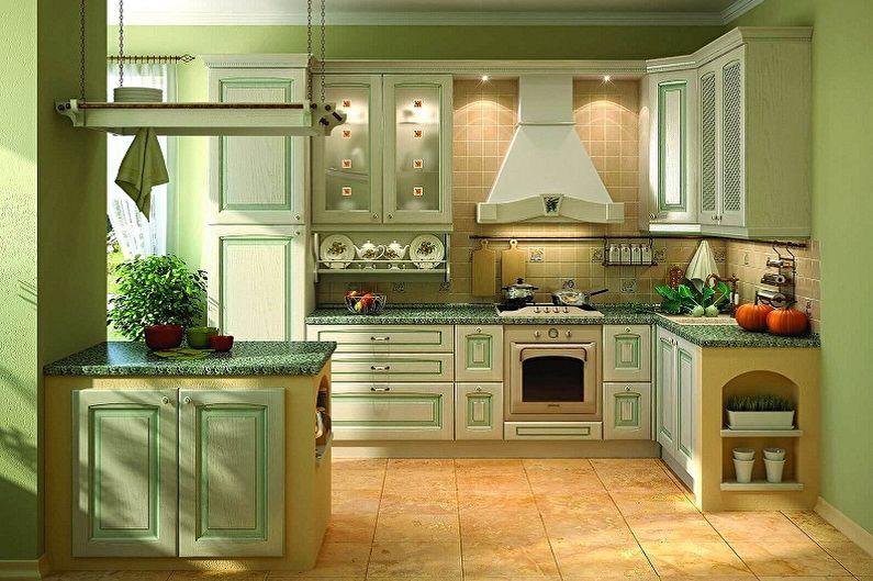 Cuisine verte de style provençal - Design d'intérieur