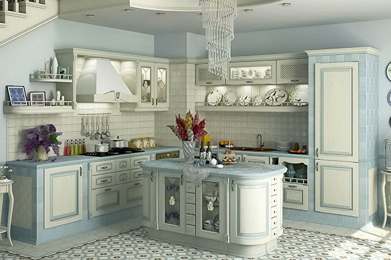 Cuisine bleue de style provençal - Design d'intérieur