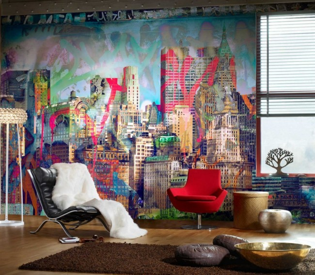 Un beau papier peint moderne crée une image unique de la pièce