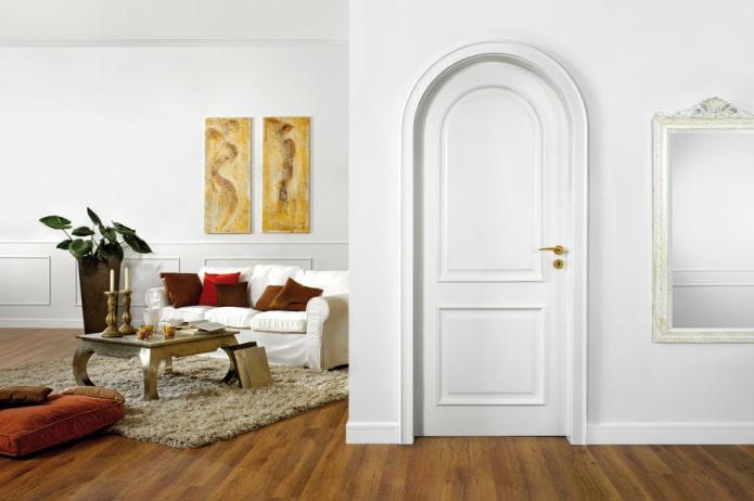 portes blanches avec poignées dorées à l'intérieur