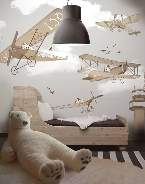 Chiens rigolos en deltaplane - une belle intrigue pour une chambre de garçon de 3 à 6 ans