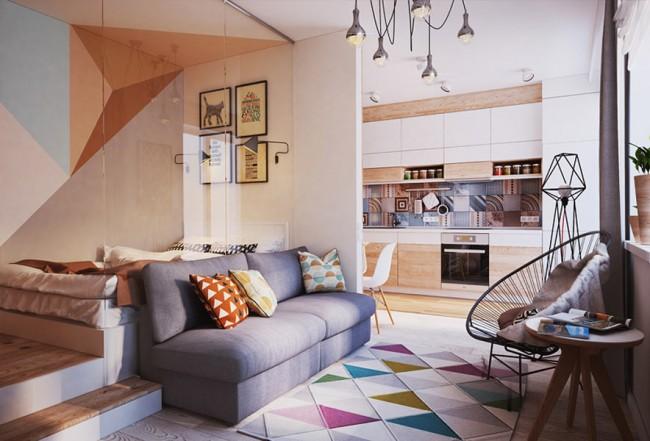 Motifs géométriques à l'intérieur d'un petit appartement d'une pièce