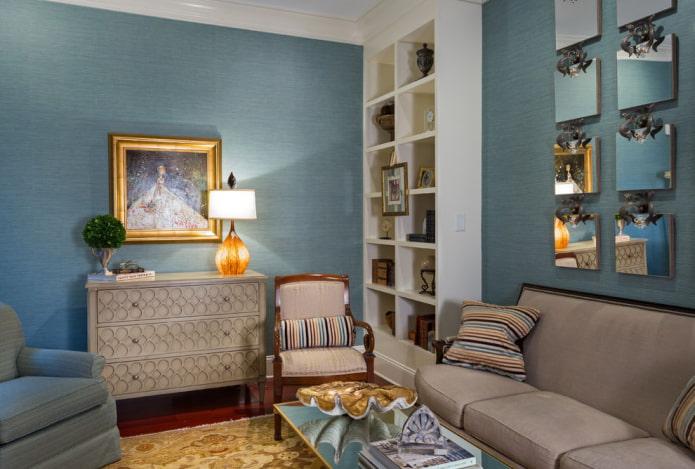 papier peint uni bleu dans le salon