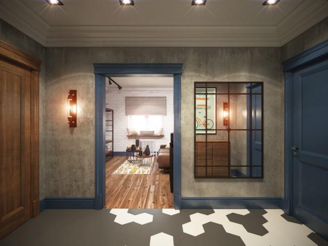 Hall d'entrée dans le style d'un carré de loft avec du plâtre texturé sur les murs et du carrelage au sol