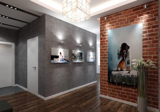 Plâtre texturé, peintures sur les murs et lampe chère dans le couloir dans le style loft