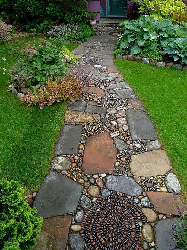 Allée de jardin en pierre artificielle