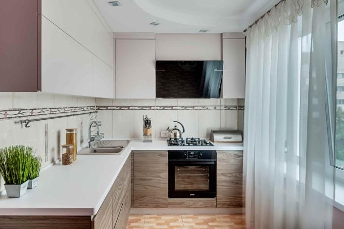 schéma de couleurs de l'intérieur de la cuisine d'une superficie de 5 m²