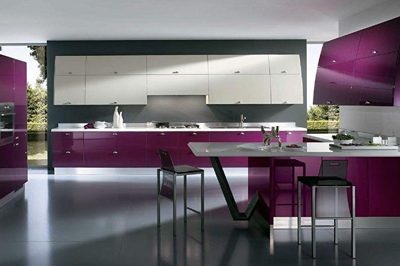Cuisine high-tech violette - Design d'intérieur